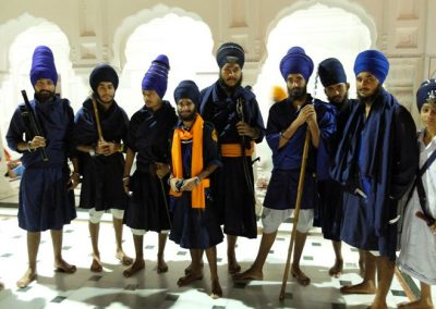 Nihang Sikhs with traditional weapons