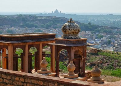 View from Raas of South Face of Mehrangarh & distant Umaid Bhawan Palace Jodhpur